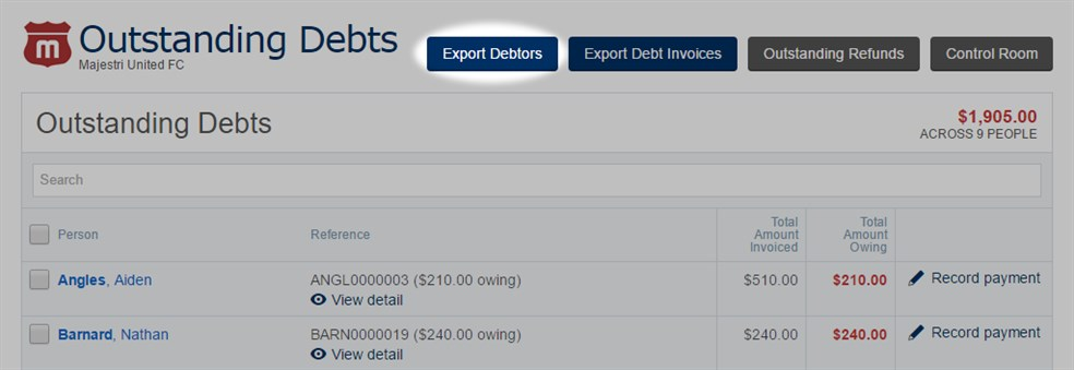 Outstanding  Debts -  Export  Debtors
