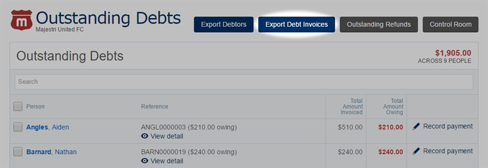 Outstanding  Debts -  Export  Debt  Invoices